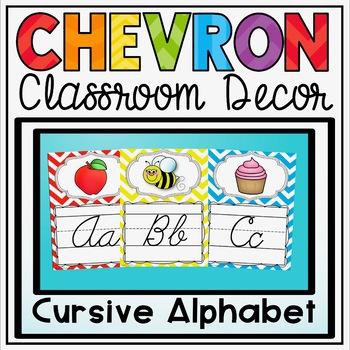 Cursive Alphabet Posters {Primary Colors Chevron Classroom