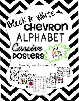Cursive Alphabet Posters - Black & White Chevron with Colo