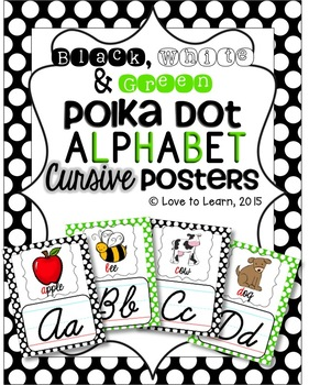 Cursive Alphabet Posters - Black, White & Green Polka Dot