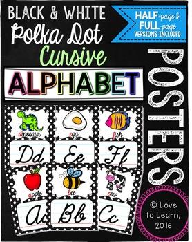 Cursive Alphabet Posters - Black & White Polka Dot with Co