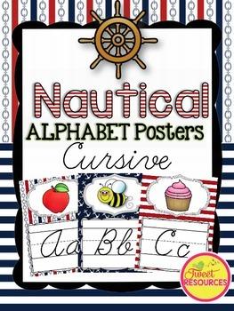 Cursive Alphabet Posters {Nautical Classroom Decor Theme}