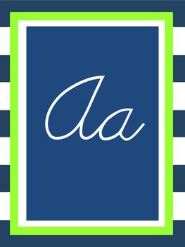 Cursive Alphabet {Preppy Nautical Theme}