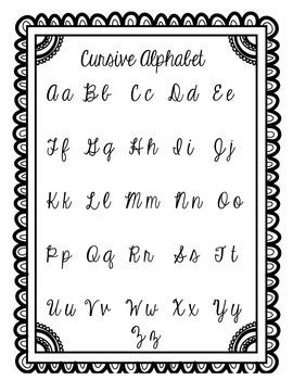 Cursive Alphabet Sheet