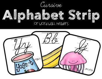 Cursive Alphabet Strip and Word Wall Headers