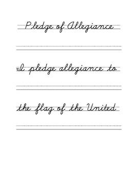 Cursive Copywork Pledge of Allegiance