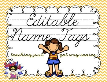 Cursive Editable Name Tags- Bee Theme
