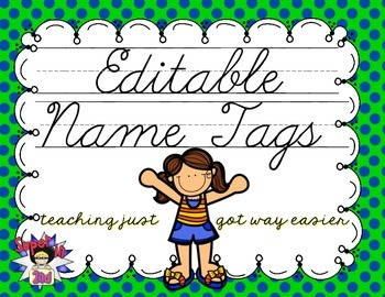 Cursive Editable Name Tags- Navy and Lime Dots