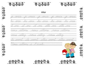 French Verb & Cursive Writing  Conjugation Practice