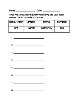 Cursive Handwriting Assessment