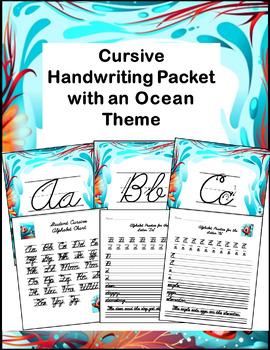 Cursive Handwriting Packet with an Ocean Theme