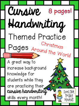 Cursive Handwriting ~ Practice Pages ~ Christmas Around th