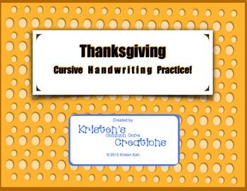 Cursive Handwriting Practice - Thanksgiving Pilgrims Mayfl