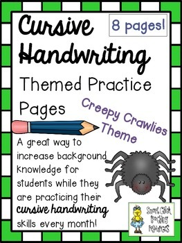 Cursive Handwriting ~ Themed Practice Pages ~ Creepy Crawl