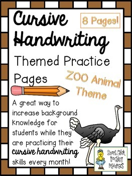 Cursive Handwriting ~ Themed Practice Pages ~ ZOO Animals