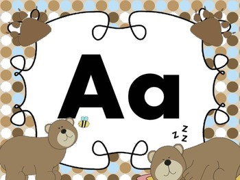 Print Letter Posters - Bear Theme