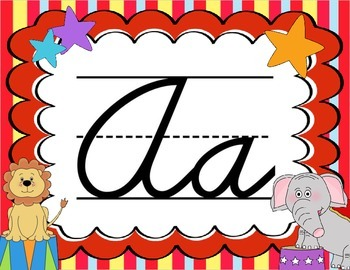Cursive Letter Posters - Circus Theme