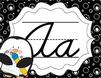 Cursive Letter Posters - Penguin Theme