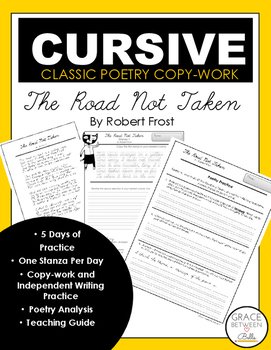 Cursive Copywork Poetry: The Road Not Taken