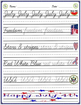 Cursive Practice - 4th of July