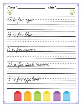 Cursive Practice - Colors