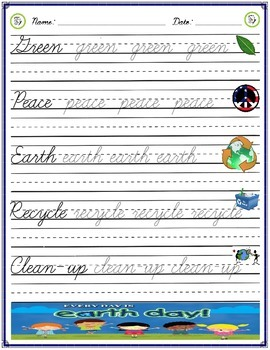 Cursive Practice - Earth Day