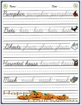 Cursive Practice - Halloween