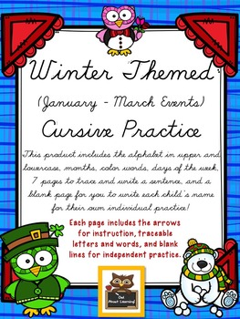 Cursive Practice Pages and/or Book with a Winter Theme!