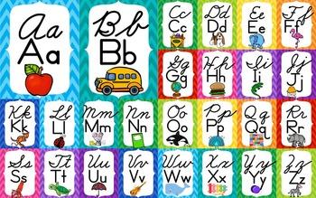 Cursive & Print ABC wall line - rainbow chevron - Zaner Bloser