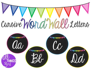 Cursive Word Wall Letters - Chalkboard with Bunting