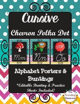 Cursive Worksheets & More! {Chalkboard Chevron Polka Dot}