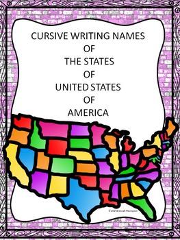 Cursive Writing: States (No Prep Worksheets)