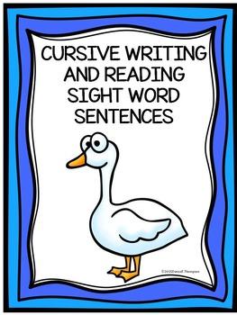 Cursive Writing: Sight Word Sentences (No Prep Worksheets)