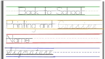 Cursive and Printing Practice: School Classroom Theme