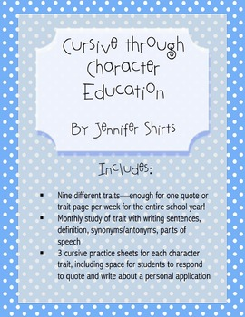 Cursive through Character Traits