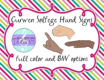 Curwen Solfege Hand Signs {Striped Background}