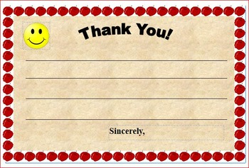 Cusomizable Thank You Note