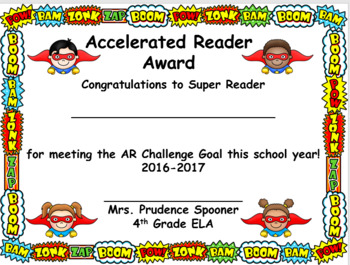 Custom AR Certificates, Superhero Design, for Mrs. Ballard