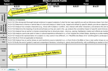 Custom Common Core Weekly Lesson Plan Template - Mid or Hi