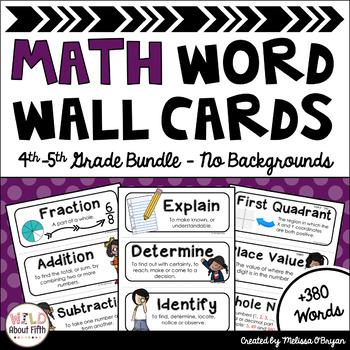 Custom Math Word Wall 4th-5th Grade BUNDLE Academic Vocabu