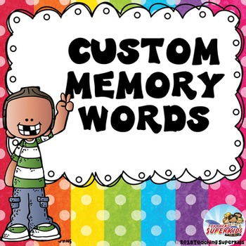 Custom Memory Word Cards for S.Wells