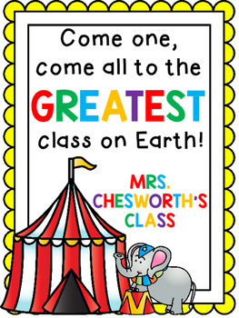 Custom Order Classroom Circus Sign