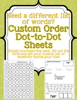 Custom Order: Dot to Dot and Stamp It sheets