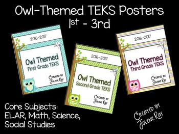 Owl Themed TEKS Posters 1st - 3rd Grade (core subjects)