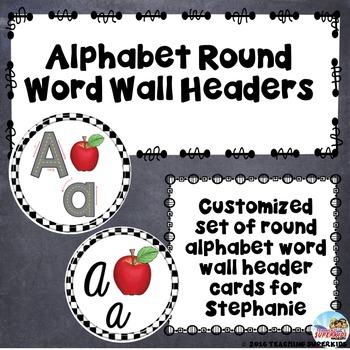 Custom Set of Alphabet Header Cards