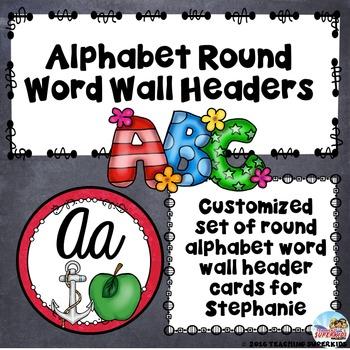 Custom Set of Alphabet Header Cards CURSIVE
