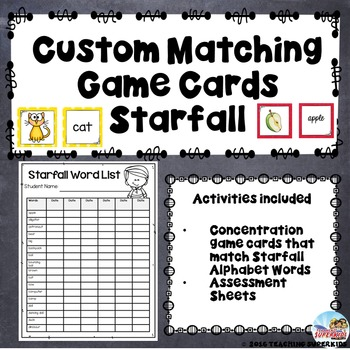 Custom Set of Assessment Forms and Matching Game Cards
