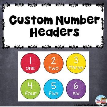 Custom Set of Number Cards