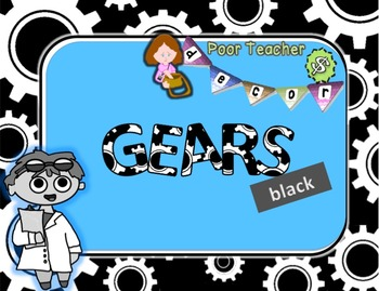 Editable Custom Theme Decor Set  GEARS---black
