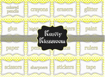 Custom Yellow and Grey Ombre' Chevron Supply Labels ~ Re-s