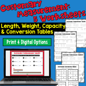 Customary Measurements Worksheets: Length, Weight, Capacit